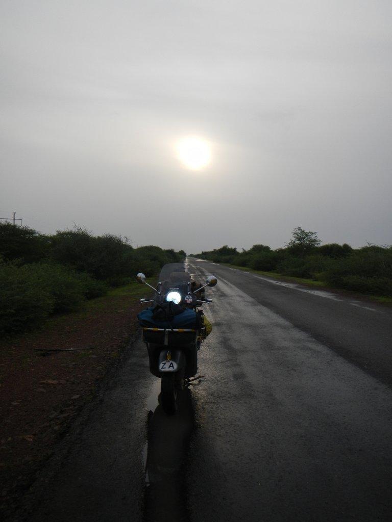 Sunrise on the road.