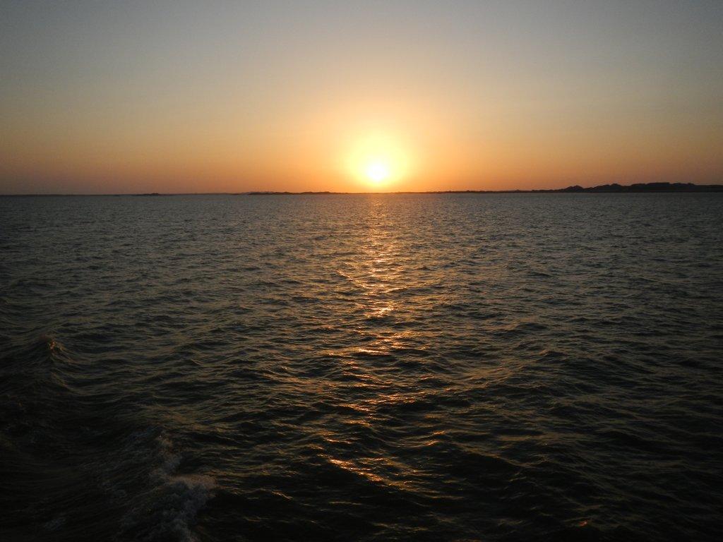 Sunset on Lake Nasser .