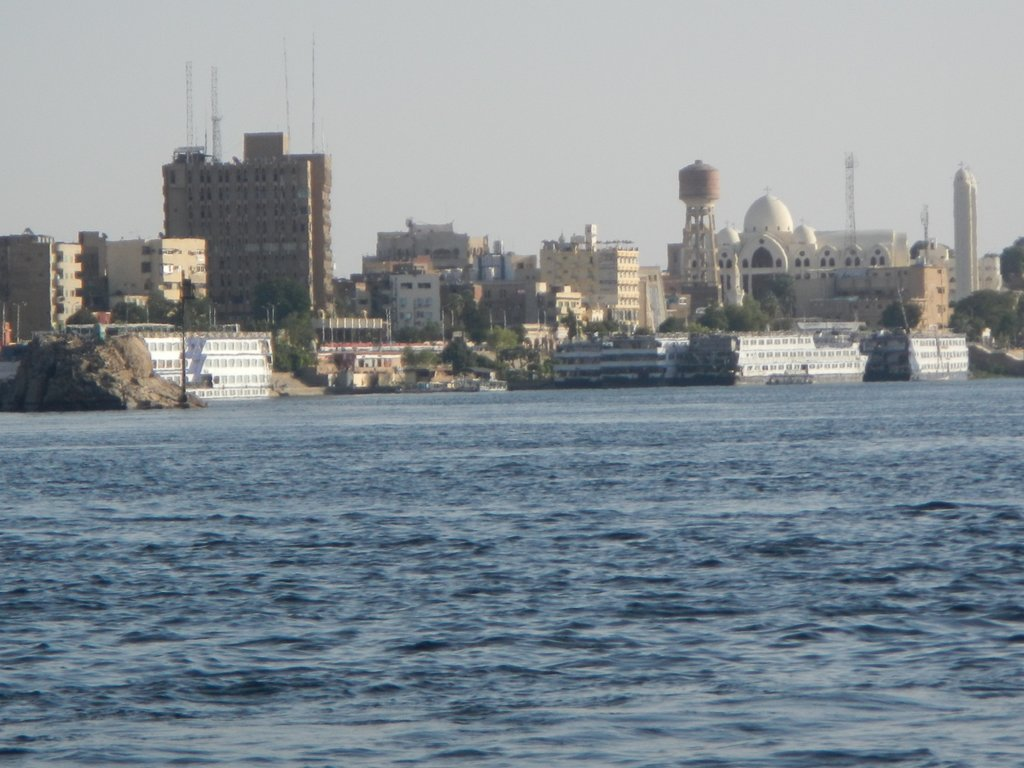 Aswan corniche from the boat .