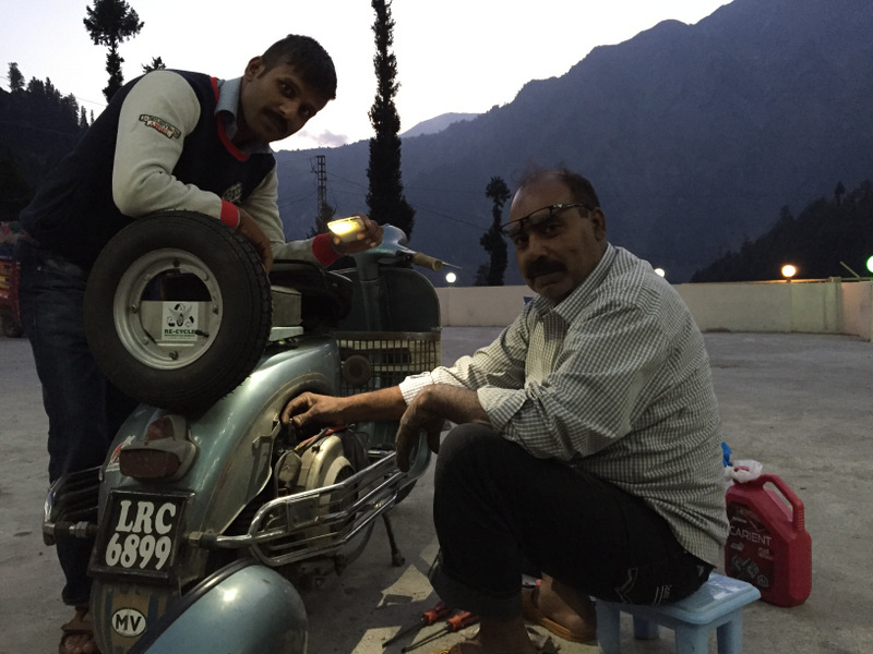 Gudu the head and chief engineer of team Karakoram Vespa support and Nasir , man about town.